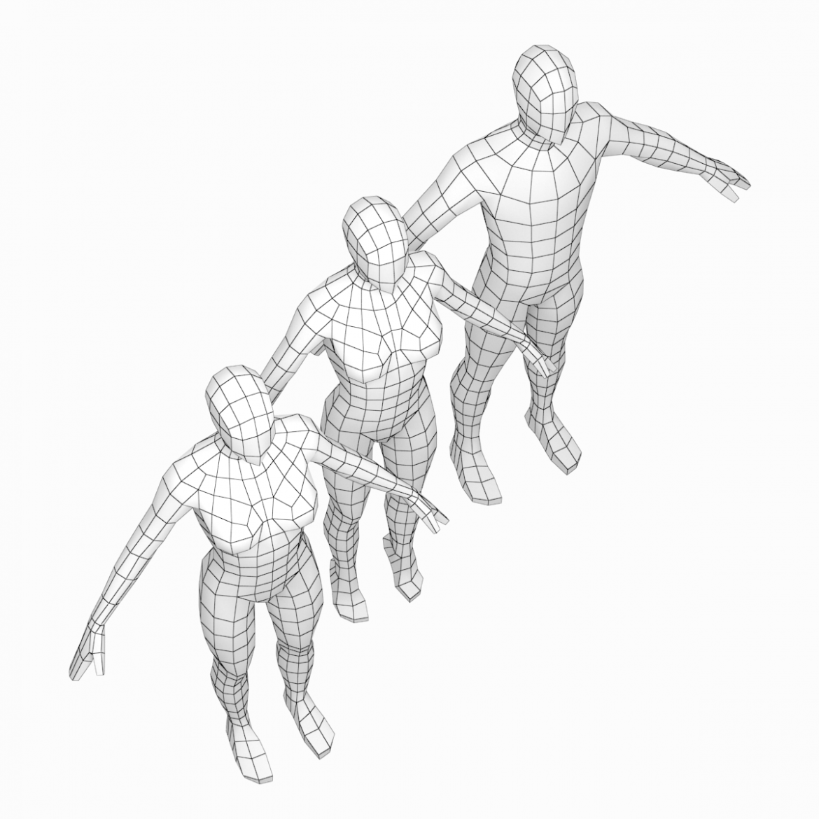 male and female low poly base mesh in a-pose 3d model 3ds max fbx c4d ma mb obj 301263