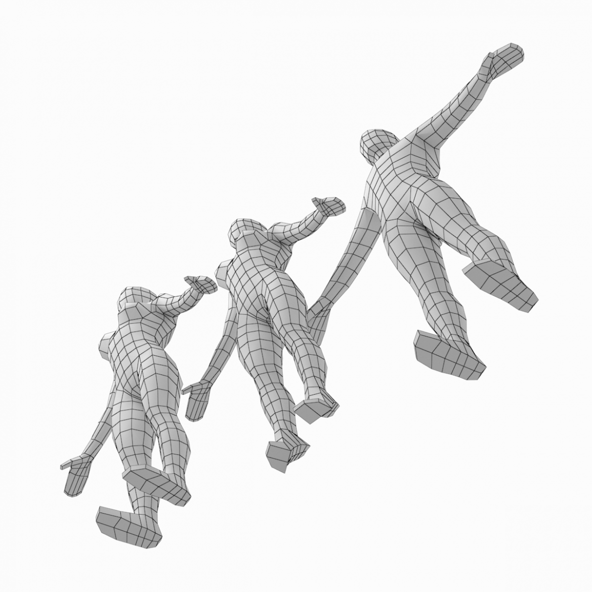 male and female low poly base mesh in a-pose 3d model 3ds max fbx c4d ma mb obj 301264