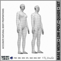 female and male deailed base mesh in rest pose 3d model 3ds max dxf dwg fbx c4d dae ma mb  obj 301287
