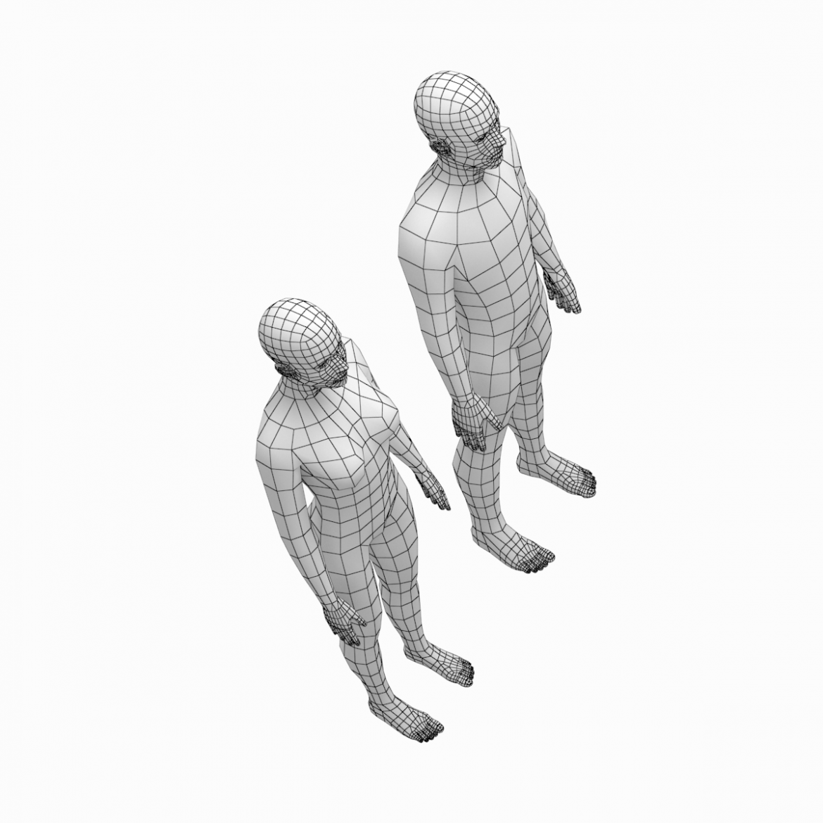female and male deailed base mesh in rest pose 3d model 3ds max dxf dwg fbx c4d dae ma mb  obj 301297