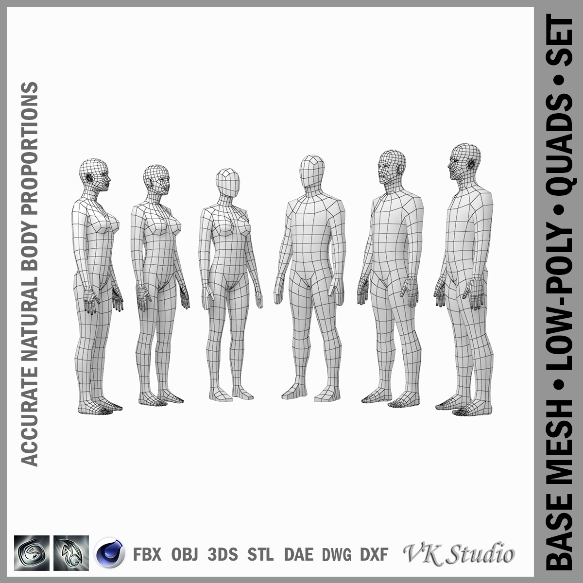 female and male base mesh in rest pose bundle 3d model