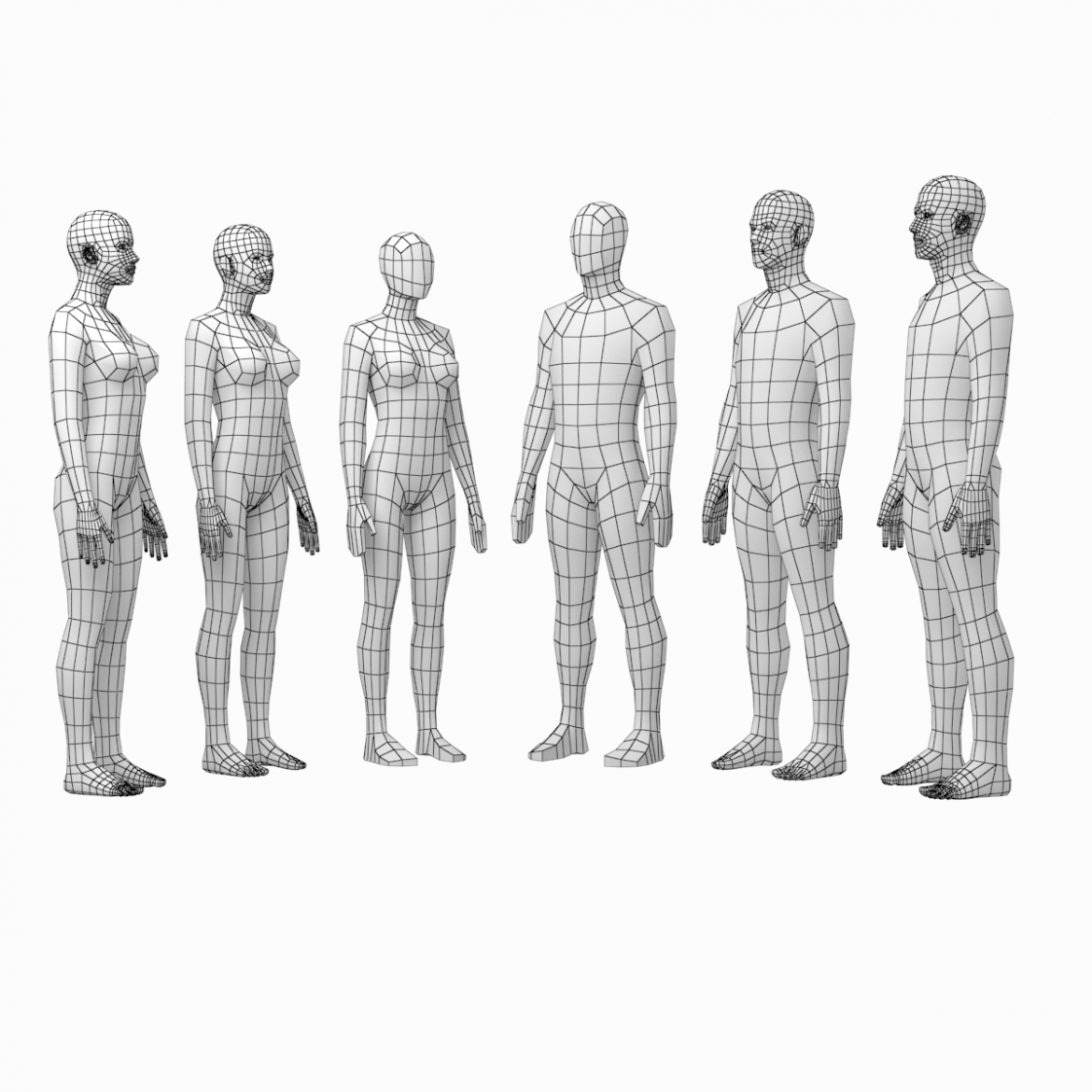 female and male base mesh in rest pose bundle 3d model 3ds max dxf dwg fbx c4d dae ma mb  obj 301318