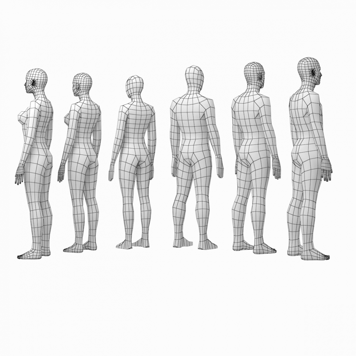 female and male base mesh in rest pose bundle 3d model 3ds max dxf dwg fbx c4d dae ma mb  obj 301319