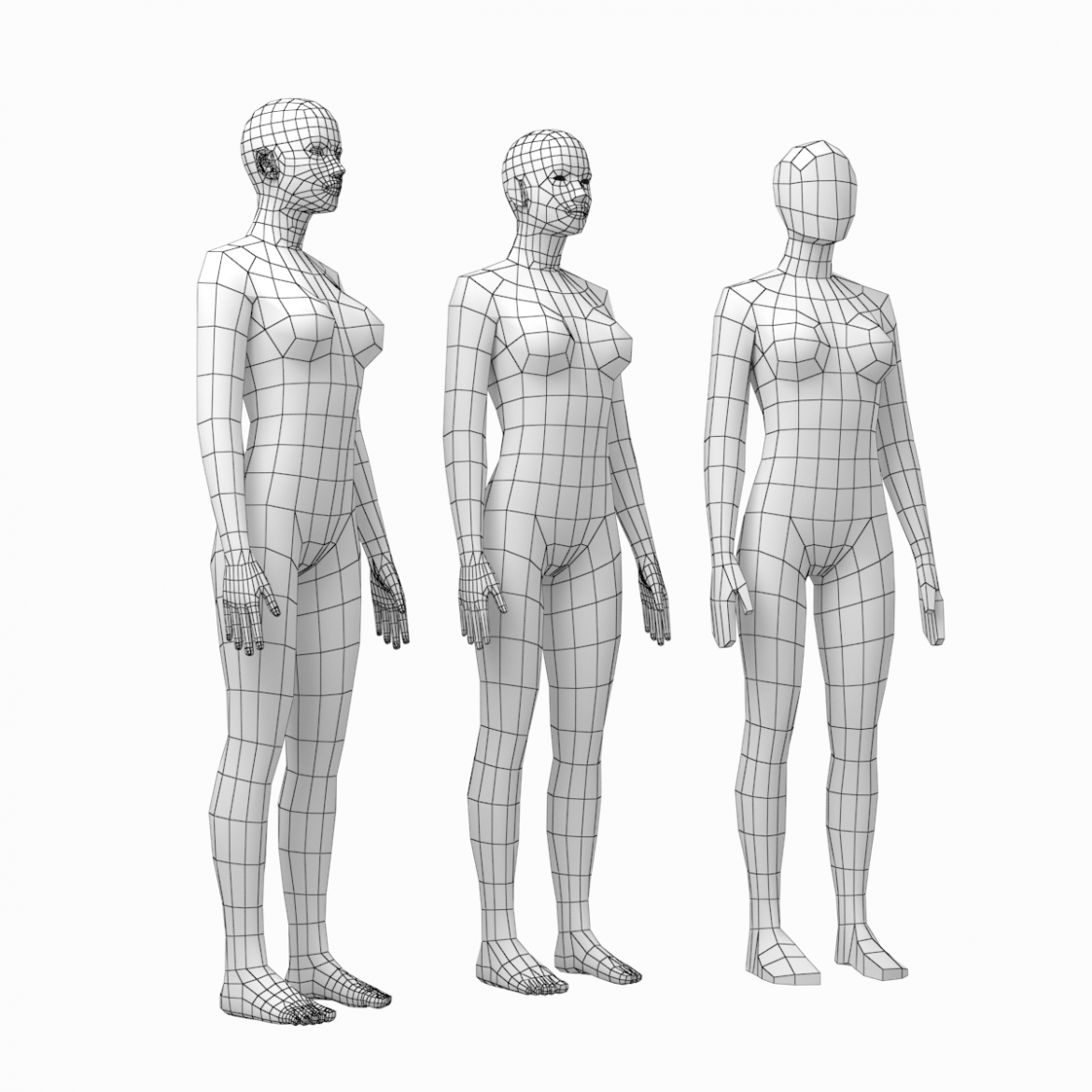 female and male base mesh in rest pose bundle 3d model 3ds max dxf dwg fbx c4d dae ma mb  obj 301323