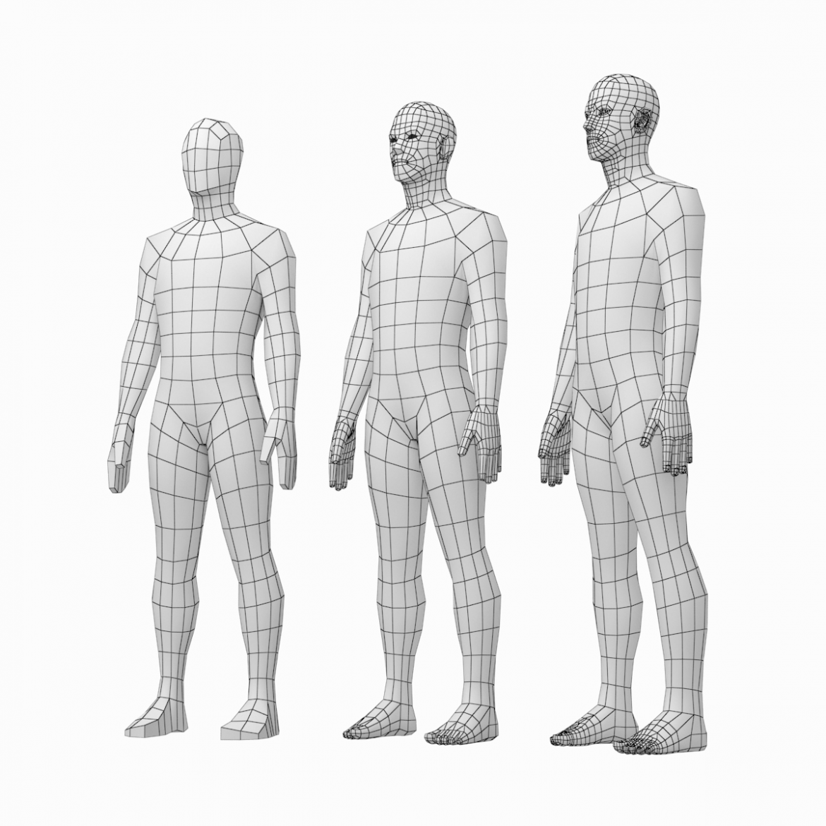 female and male base mesh in rest pose bundle 3d model 3ds max dxf dwg fbx c4d dae ma mb  obj 301325