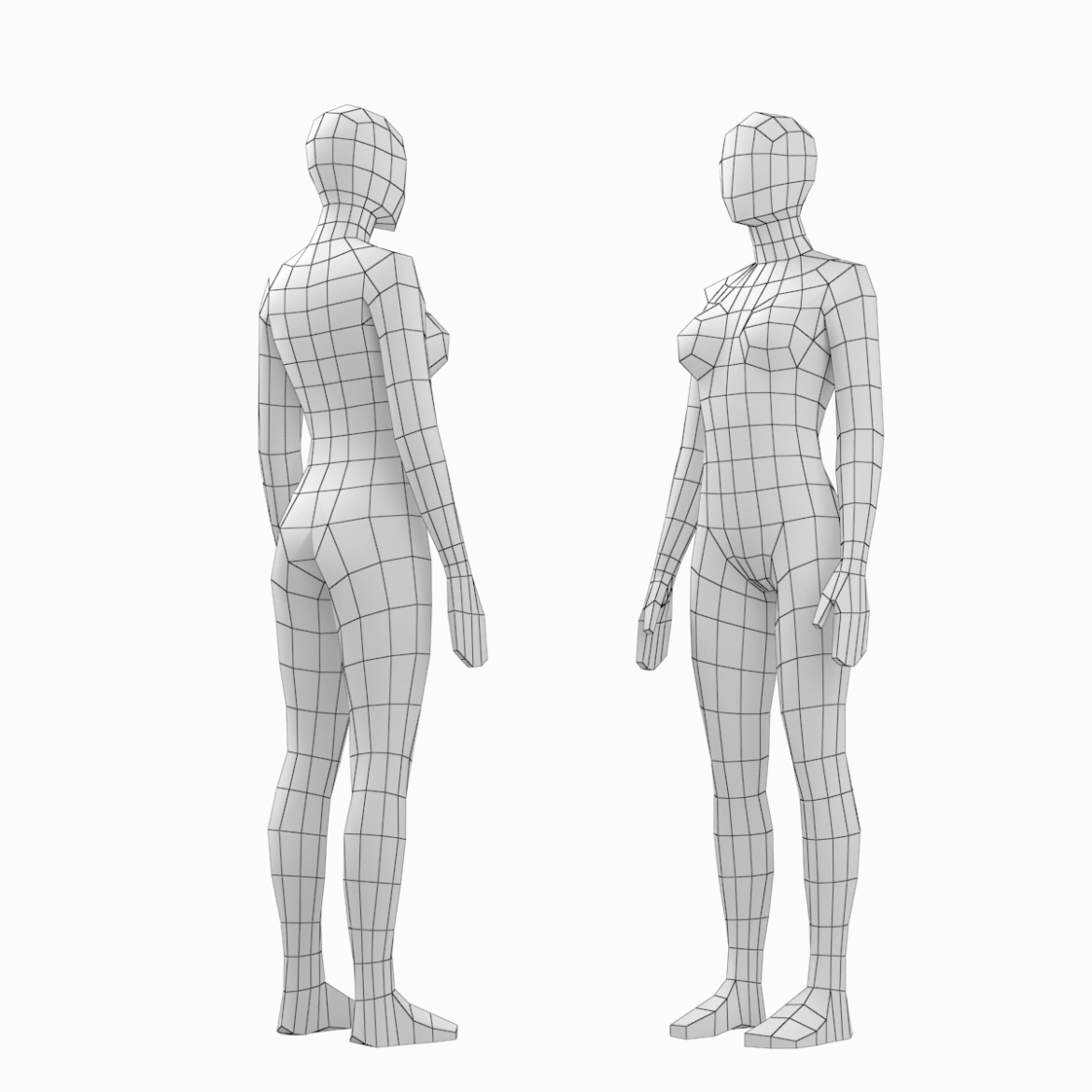 female and male base mesh in rest pose bundle 3d model 3ds max dxf dwg fbx c4d dae ma mb  obj 301327
