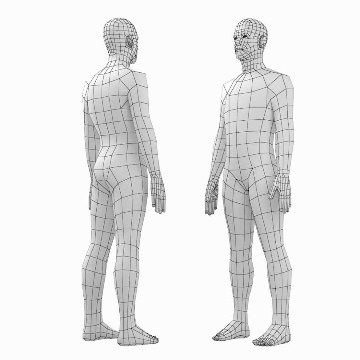female and male base mesh in rest pose bundle 3d model 3ds max dxf dwg fbx c4d dae ma mb  obj 301331