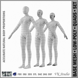 female base mesh natural proportions in a-pose 3d model 3ds max dxf dwg fbx c4d dae ma mb  obj 301355