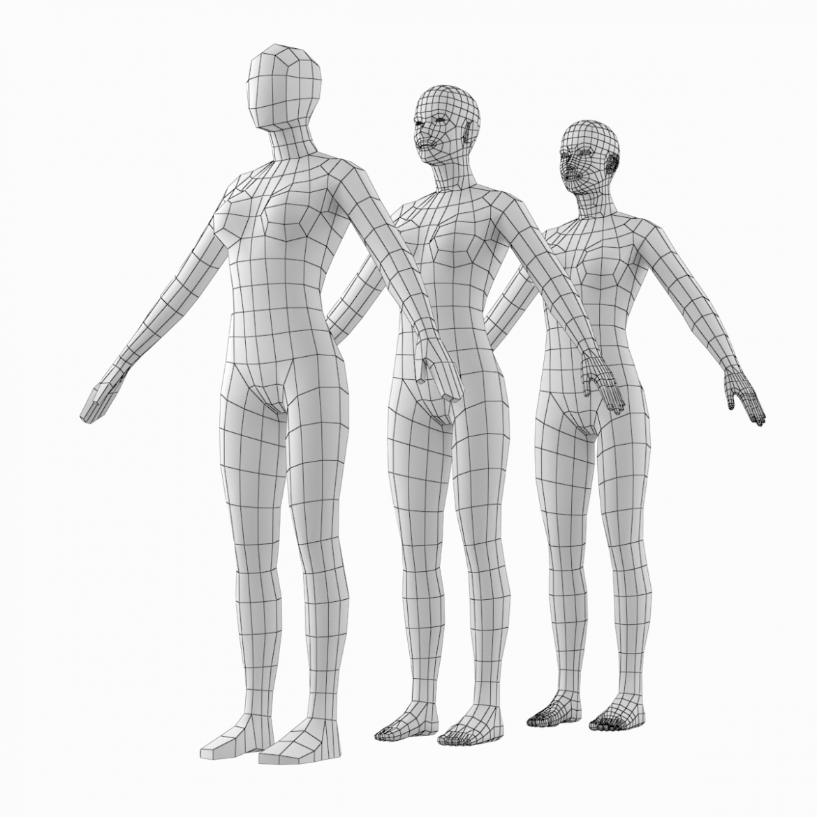female base mesh natural proportions in a-pose 3d model 3ds max dxf dwg fbx c4d dae ma mb  obj 301356