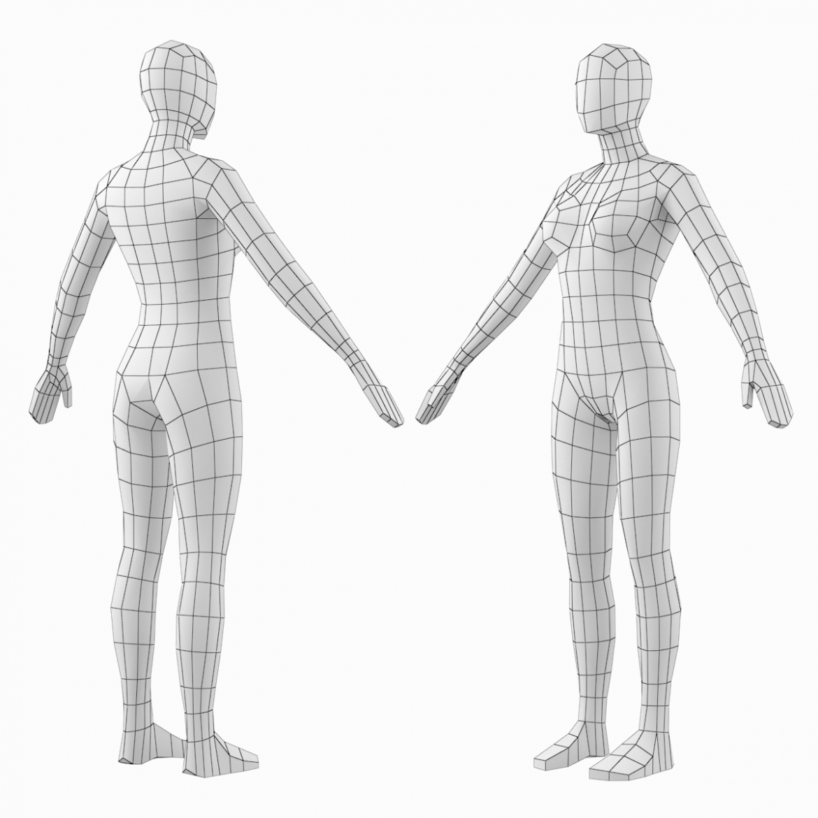 female base mesh natural proportions in a-pose 3d model 3ds max dxf dwg fbx c4d dae ma mb  obj 301362