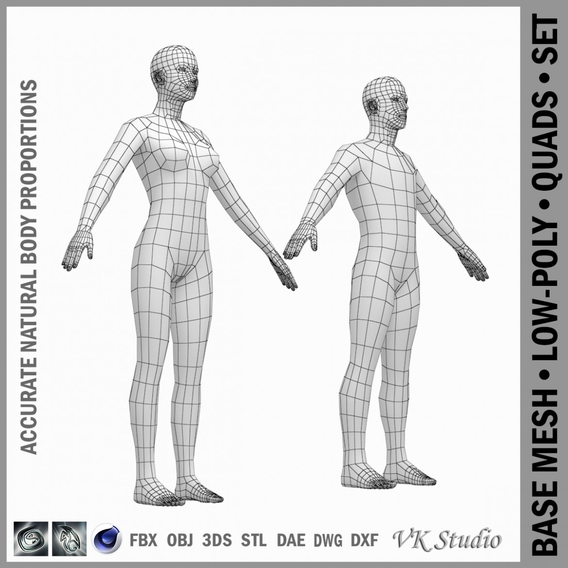 female and male base mesh in a-pose 3d model 3ds max dxf dwg fbx c4d dae ma mb  obj 301392