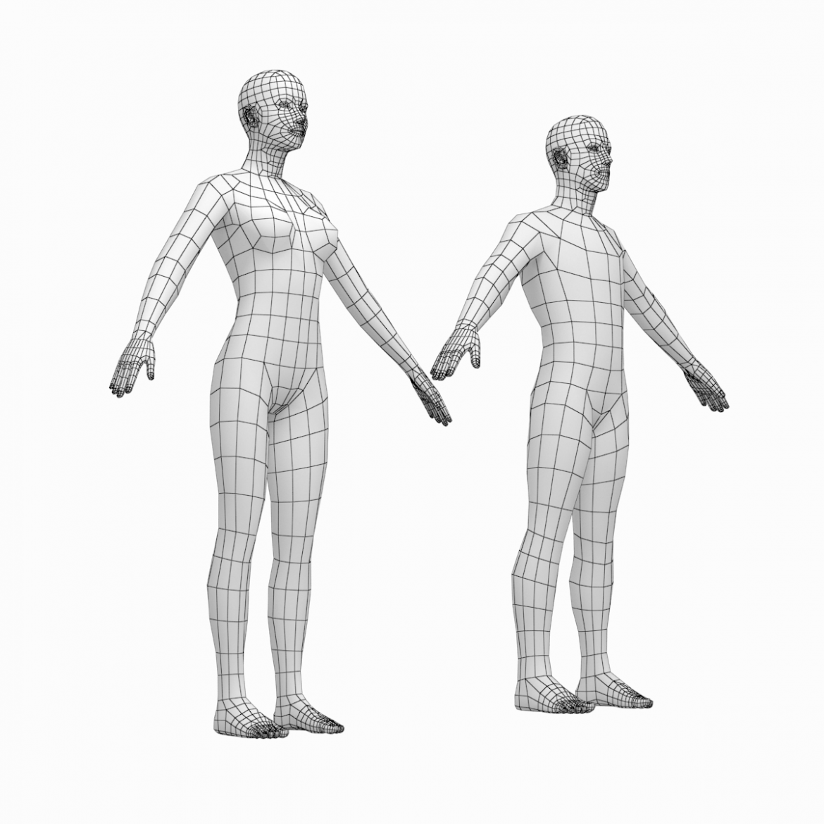 female and male base mesh in a-pose 3d model 3ds max dxf dwg fbx c4d dae ma mb  obj 301393