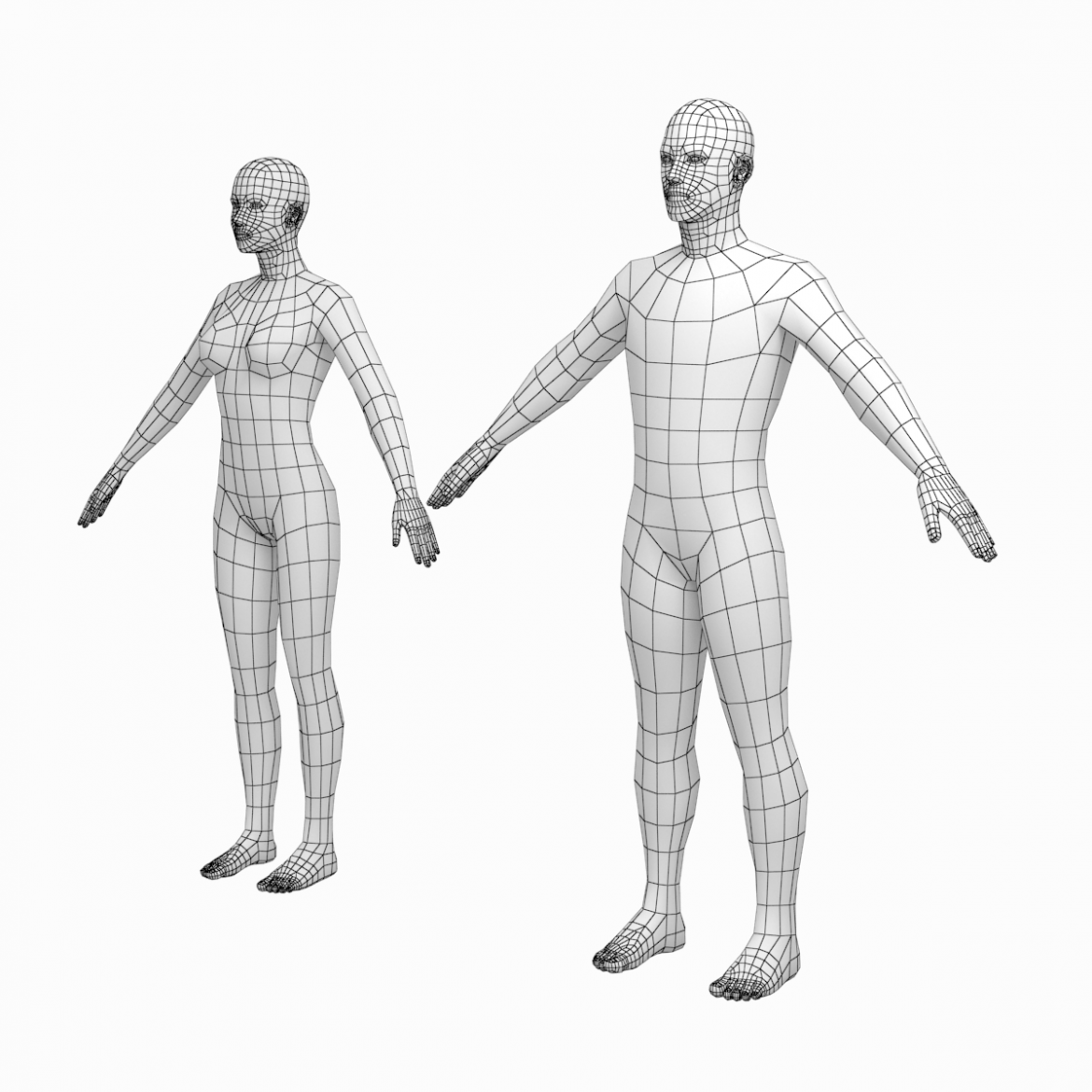 female and male base mesh in a-pose 3d model 3ds max dxf dwg fbx c4d dae ma mb  obj 301395