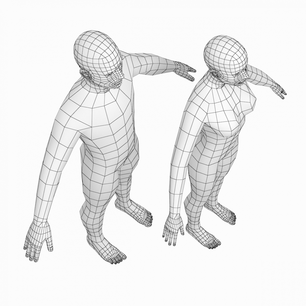 female and male base mesh in a-pose 3d model 3ds max dxf dwg fbx c4d dae ma mb  obj 301397