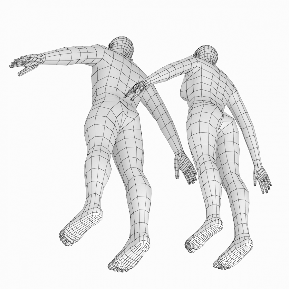 female and male base mesh in a-pose 3d model 3ds max dxf dwg fbx c4d dae ma mb  obj 301399