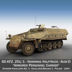 sd.kfz 251 / 1 ausf.d - hanner trac - model 202 3d 3ds fbx c4d lwo obj 301415