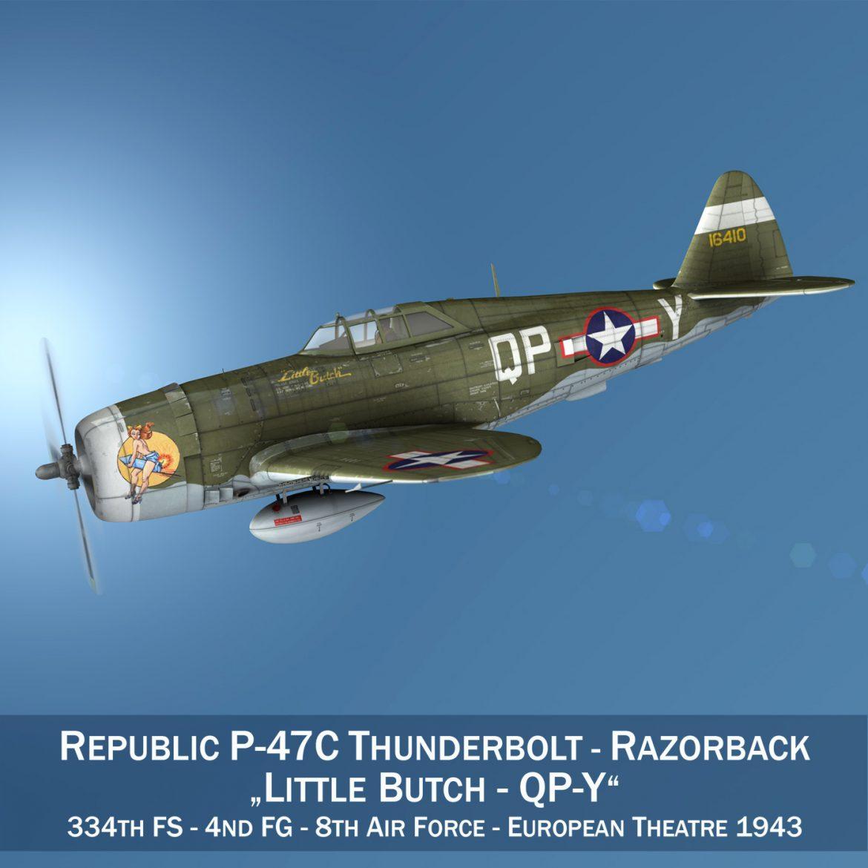 republic p-47c thunderbolt – little butch – qp-v 3d model 3ds fbx c4d lwo obj 301460