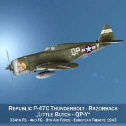 republic p-47c thunderbolt – little butch – qp-v 3d model 3ds fbx c4d lwo obj 301460