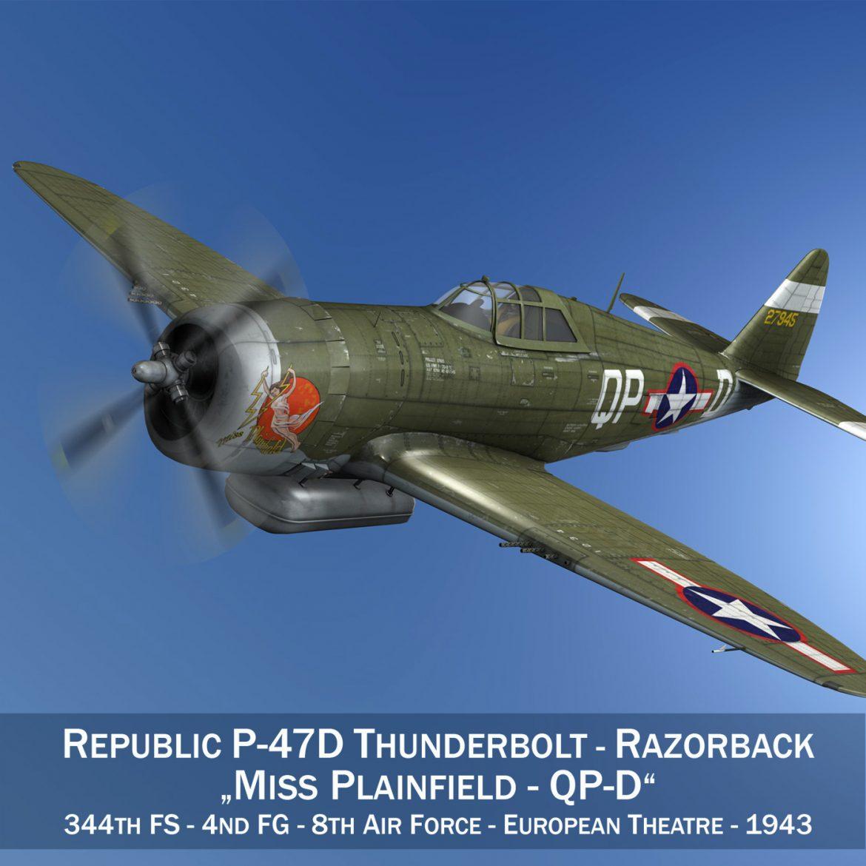 republic p-47d thunderbolt – miss plainfield 3d model 3ds fbx c4d lwo obj 301488