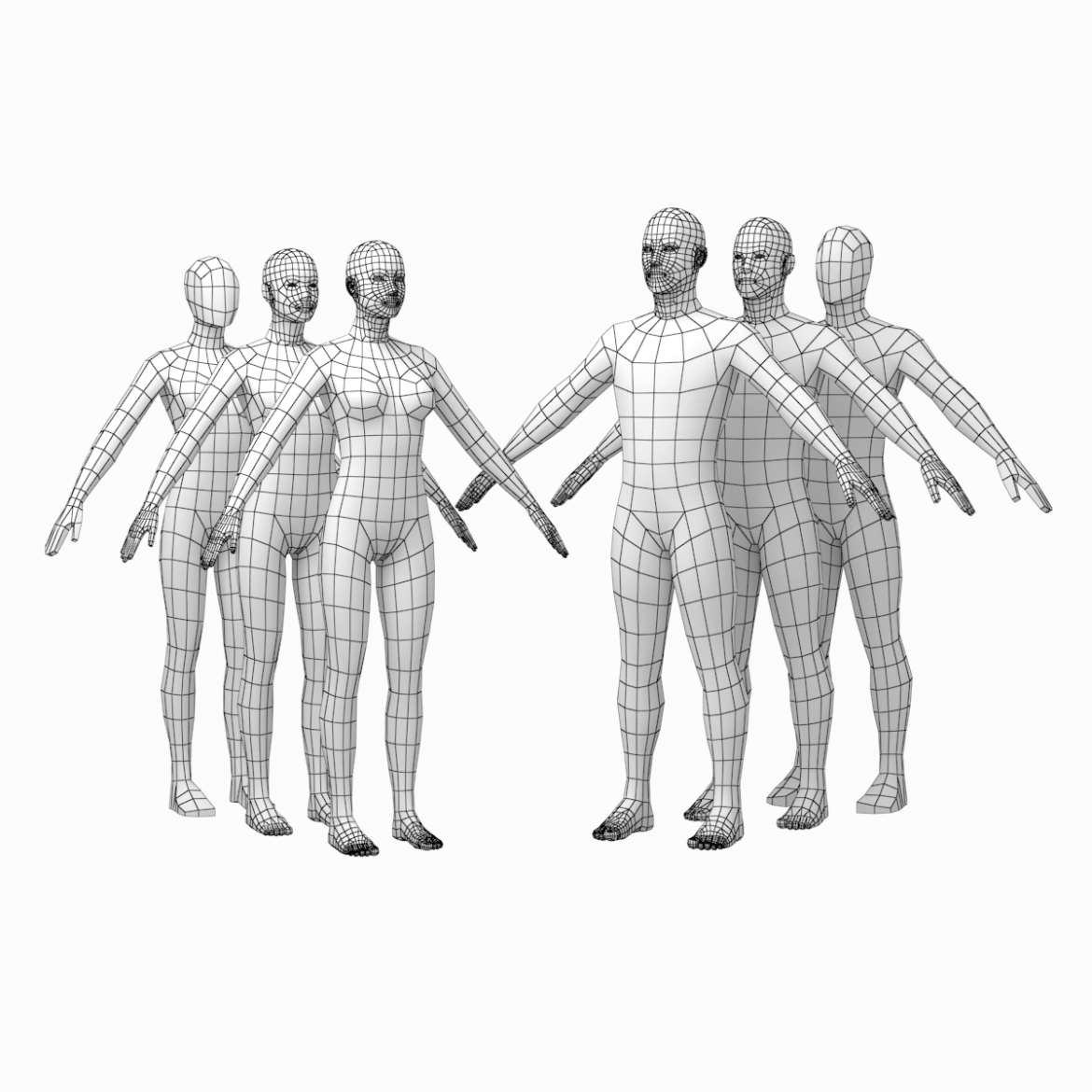 female and male base mesh in a pose bundle 3d model 3ds max dxf dwg fbx c4d dae ma mb  obj 301858
