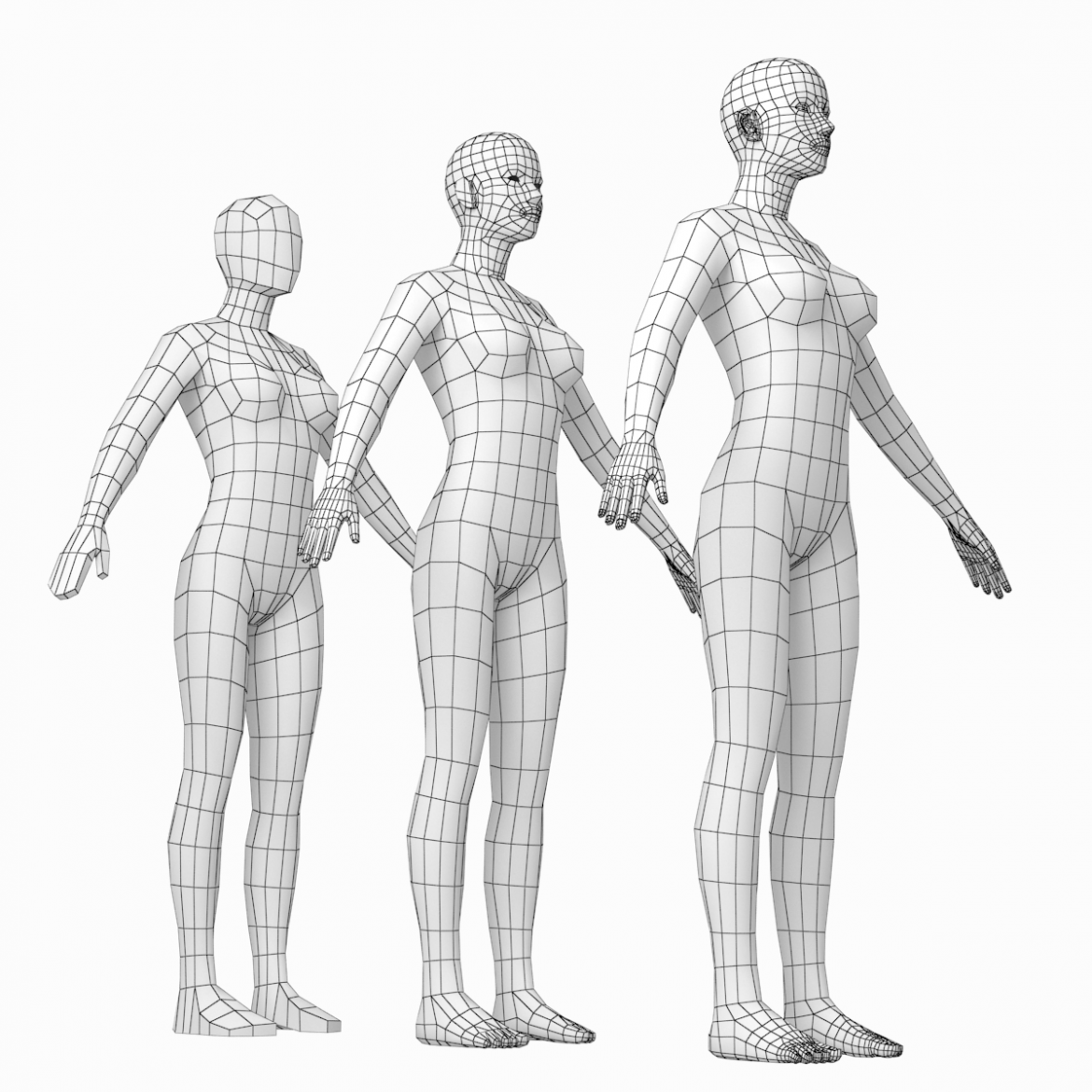 female and male base mesh in a pose bundle 3d model 3ds max dxf dwg fbx c4d dae ma mb  obj 301859