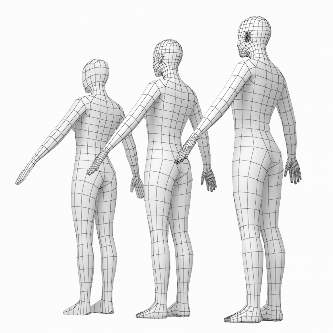 female and male base mesh in a pose bundle 3d model 3ds max dxf dwg fbx c4d dae ma mb  obj 301860