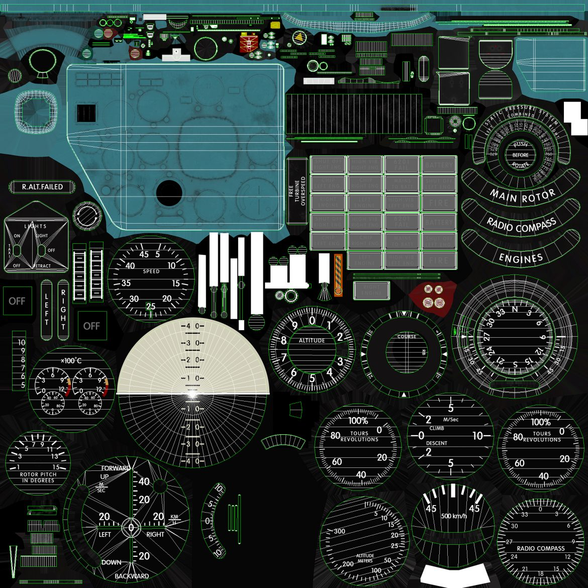 mi-8mt mi-17mt panel boards english 3d model 3ds max fbx obj 301984
