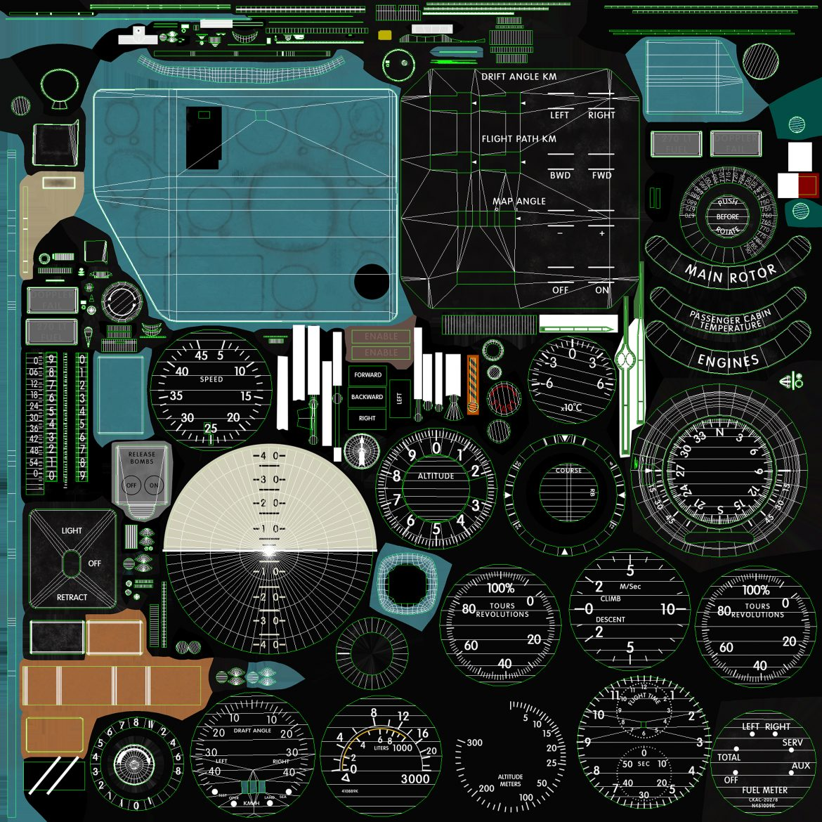 mi-8mt mi-17mt panel boards english 3d model 3ds max fbx obj 301985