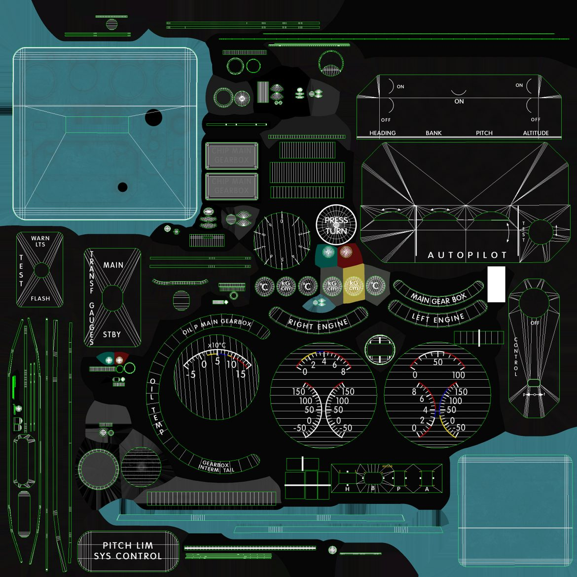 mi-8mt mi-17mt panel boards english 3d model 3ds max fbx obj 301986