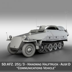 sd.kfz 251/3 ausf.d – communications vehicle 3d model 3ds fbx c4d lwo obj 302587