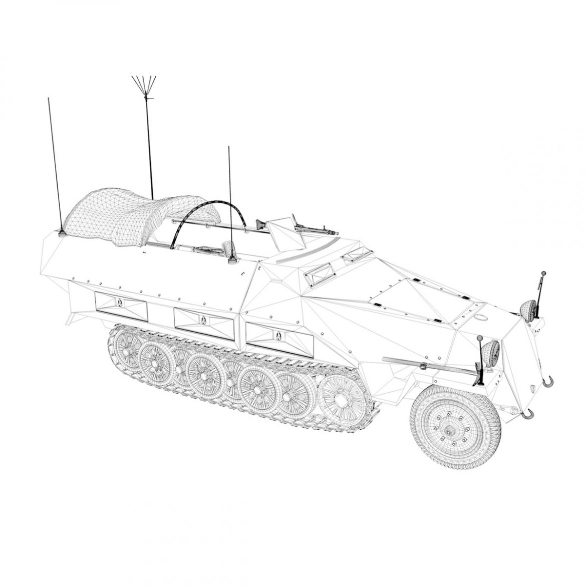 sd.kfz 251/3 ausf.d – communications vehicle 3d model 3ds fbx c4d lwo obj 302599