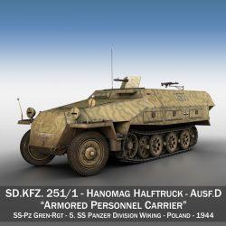sd.kfz 251/1 ausf.d – half-track – 2533 3d model 3ds fbx c4d lwo obj 302607