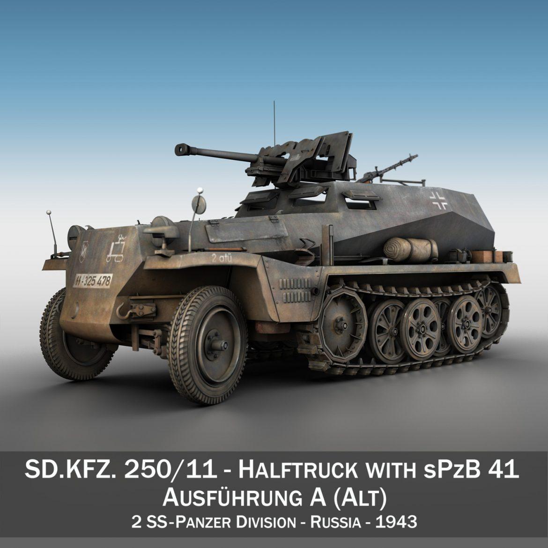 sd.kfz 250 / 11 - halftruck - 2 ss-pzdiv Samhail 3d 3ds fbx c4d lwo obj 302768