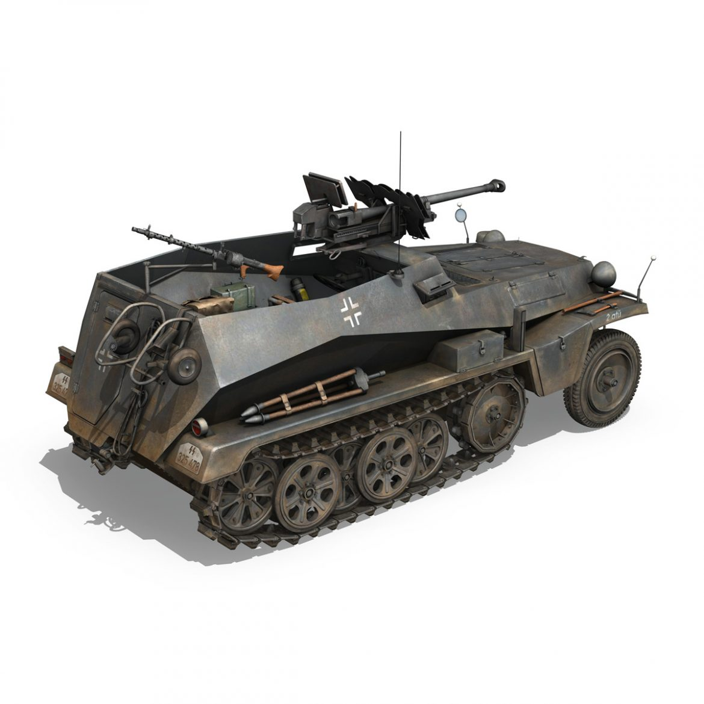 sd.kfz 250 / 11 - halftruck - 2 ss-pzdiv Samhail 3d 3ds fbx c4d lwo obj 302773