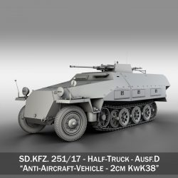 sd.kfz 251/17 ausf.d – anti-aircraft vehicle 3d model 3ds fbx c4d lwo obj 302946