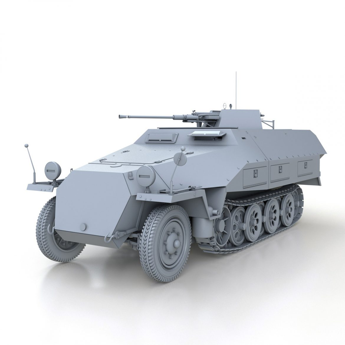 sd.kfz 251/17 ausf.d – anti-aircraft vehicle 3d model 3ds fbx c4d lwo obj 302947