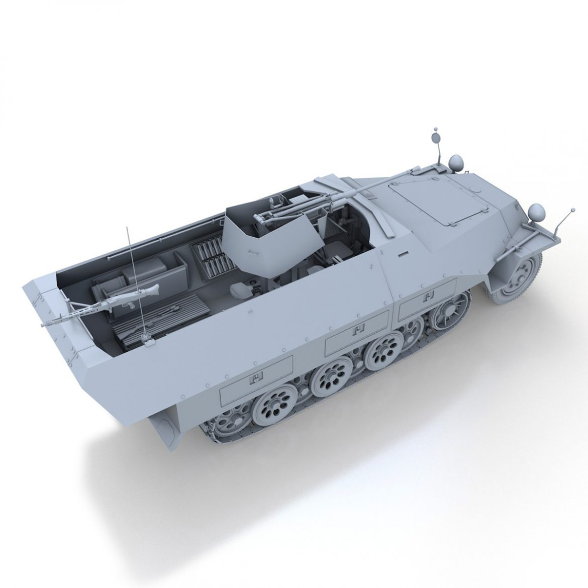 sd.kfz 251/17 ausf.d – anti-aircraft vehicle 3d model 3ds fbx c4d lwo obj 302952