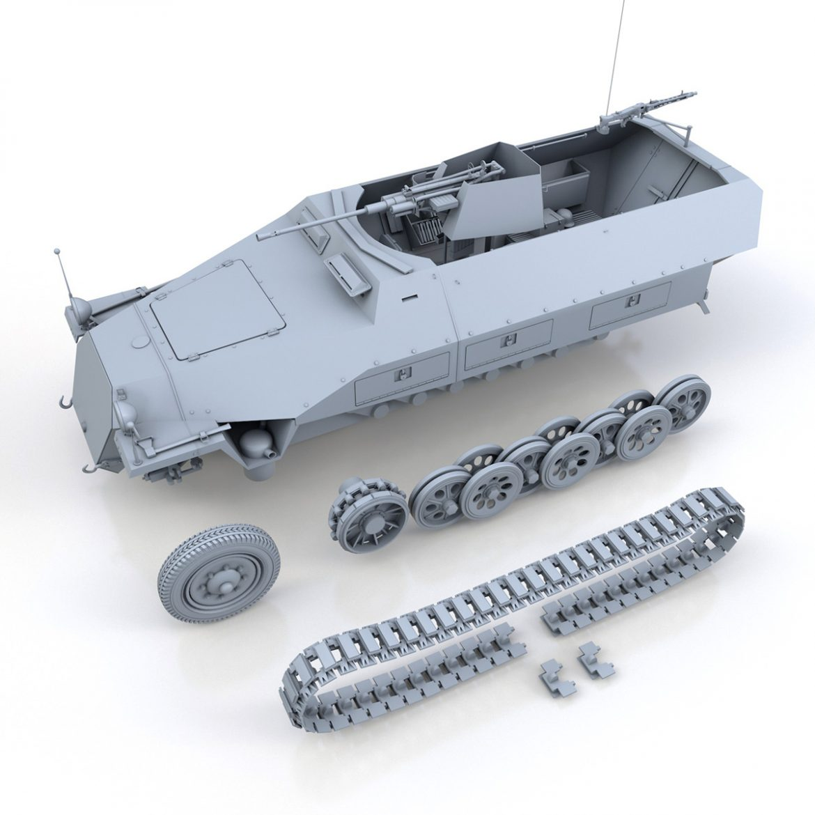 sd.kfz 251/17 ausf.d – anti-aircraft vehicle 3d model 3ds fbx c4d lwo obj 302959