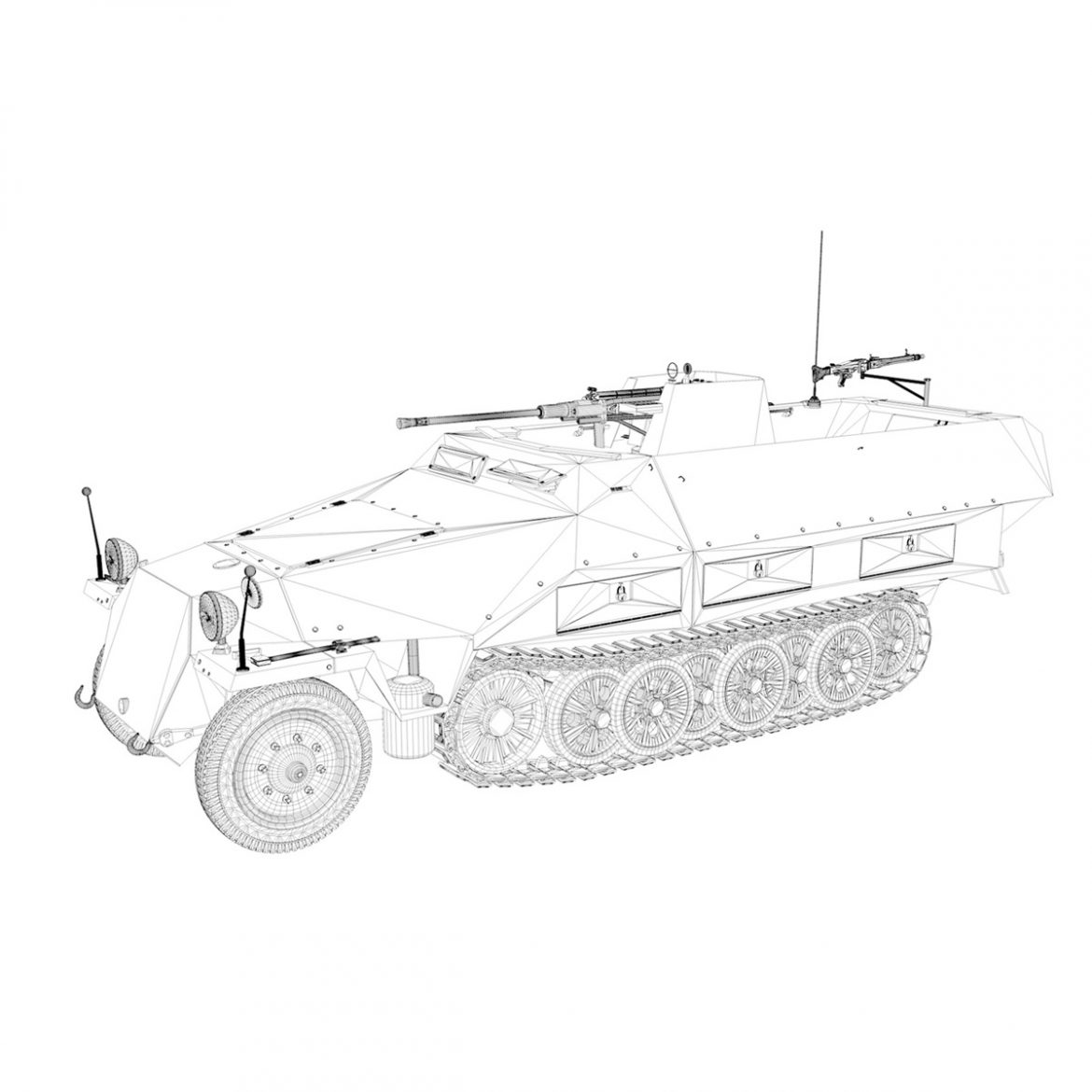 sd.kfz 251/17 ausf.d – anti-aircraft vehicle 3d model 3ds fbx c4d lwo obj 302960