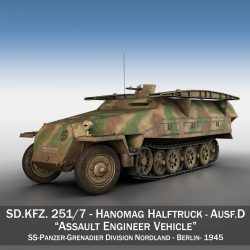 sd.kfz 251 ausf.d – assault engineer vehicle – 542 3d model 3ds fbx c4d lwo obj 302969