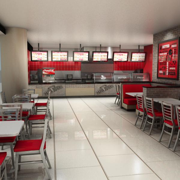 papa johns restaurant 3d model max 303149