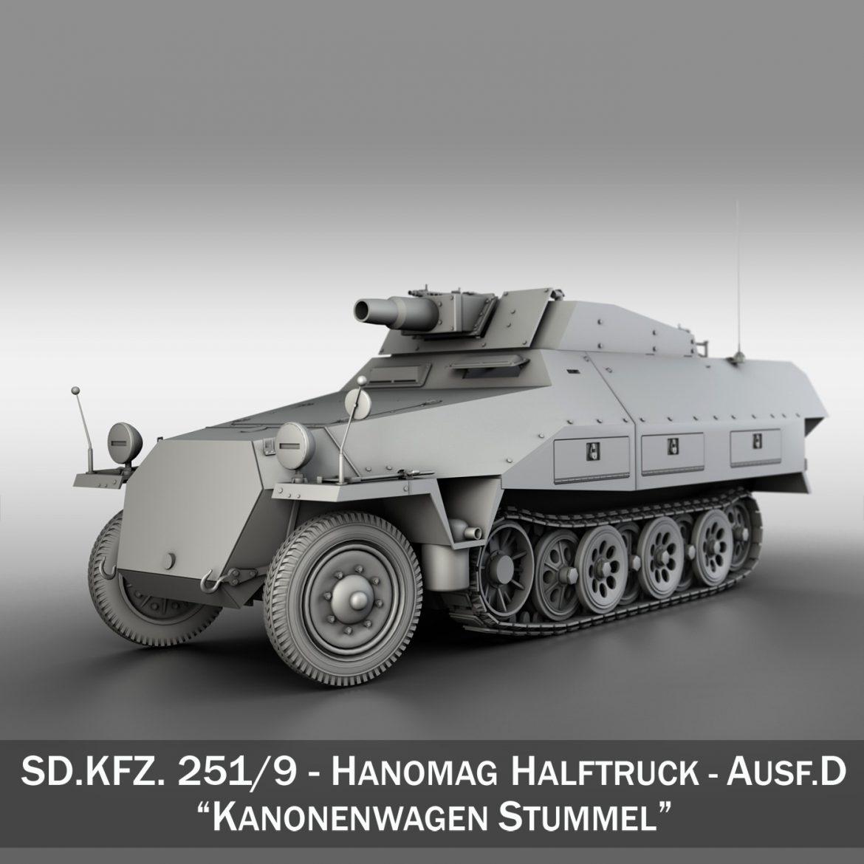 sd.kfz 251 / 9 ausf.d - kanonenwagen stummel 3d model 3ds c4d fbx lwo lw lw obj 303265