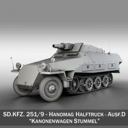 sd.kfz 251/9 ausf.d – kanonenwagen stummel 3d model 3ds c4d fbx lwo lw lws obj 303265