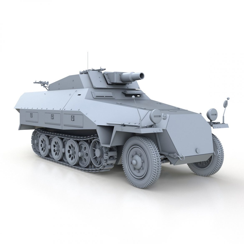 sd.kfz 251 / 9 ausf.d - kanonenwagen stummel 3d model 3ds c4d fbx lwo lw lw obj 303275