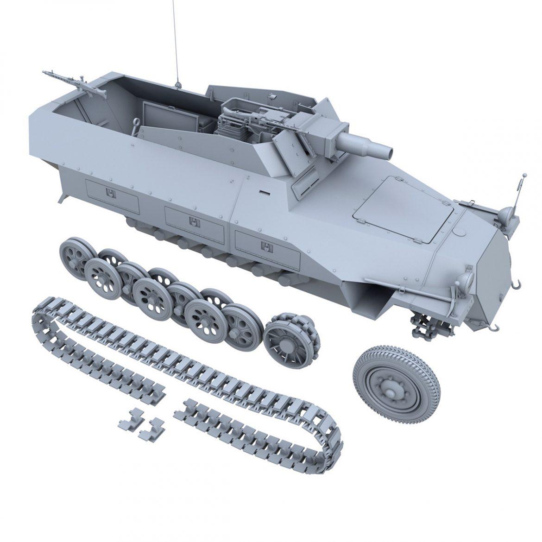 sd.kfz 251 / 9 ausf.d - kanonenwagen stummel 3d model 3ds c4d fbx lwo lw lw obj 303276