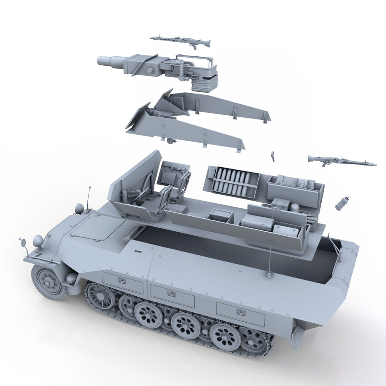 sd.kfz 251 / 9 ausf.d - kanonenwagen stummel 3d model 3ds c4d fbx lwo lw lw obj 303277