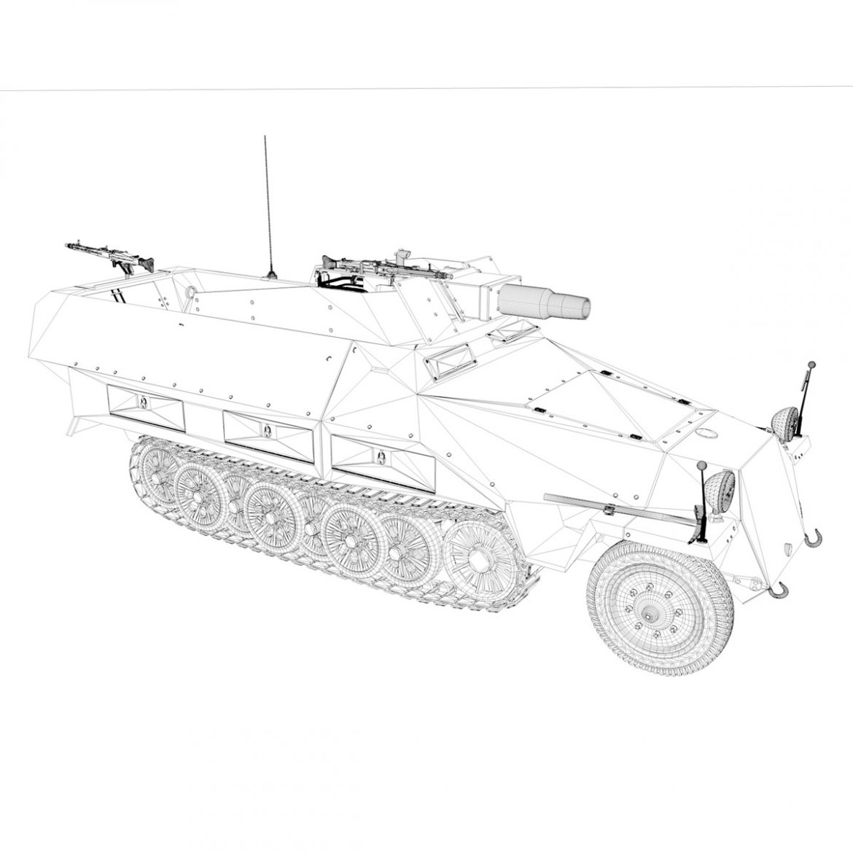 sd.kfz 251 / 9 ausf.d - kanonenwagen stummel 3d model 3ds c4d fbx lwo lw lw obj 303279