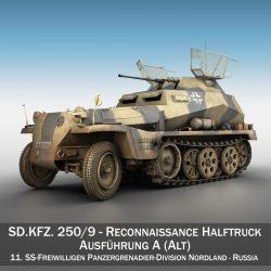 sd.kfz 250 / 9 - hanner rhagddangosiad hanner tymor - nordland model 3d 3ds c4d fbx lwo lw lw obj 303306
