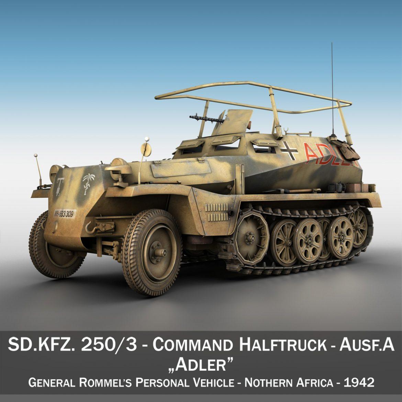 sd.kfz 250 3 – adler – halftrack command variant 3d model 3ds fbx lwo lw lws obj c4d 303325