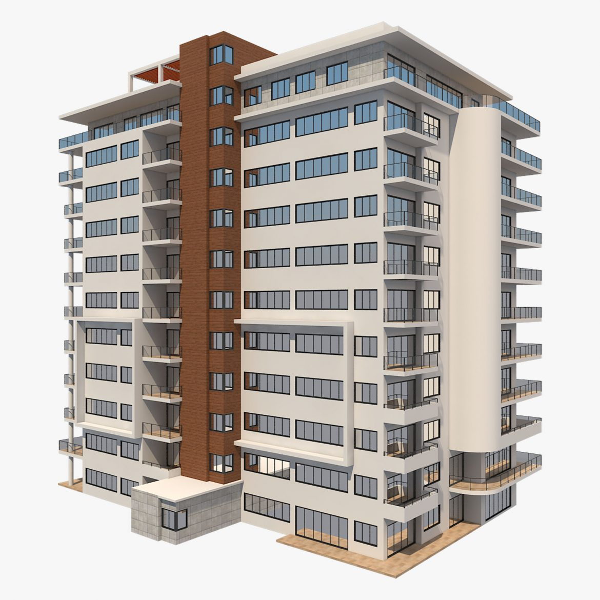 apartment building_61 3d model 3ds blend c4d fbx max ds max plugin ma mb obj 303406
